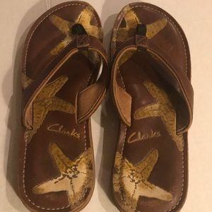 Clark's Brown Leather Starfish Flip Flop Sz 11